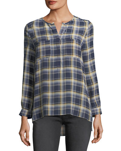 Nepal Plaid Silk Blouse