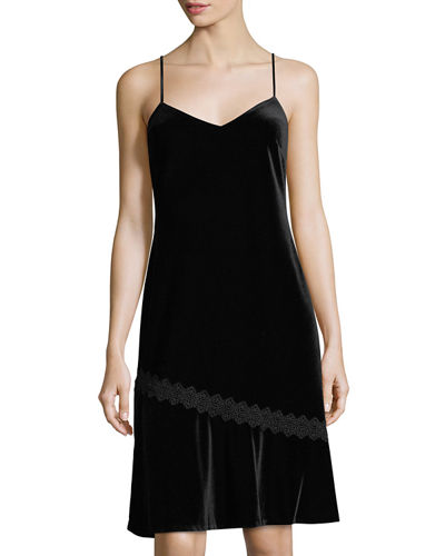 Karl Lagerfeld Paris Lace-Trim Velvet Slip Dress
