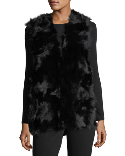 Fur-Front Knit-Back Vest