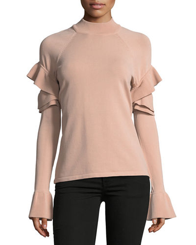 Ruffle Shoulder Mock-Neck Sweater