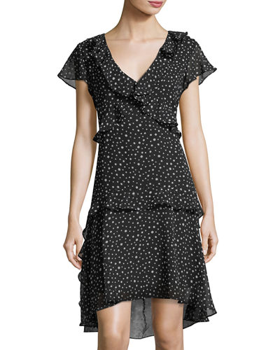 Polka-Dot Ruffle Crepe Dress