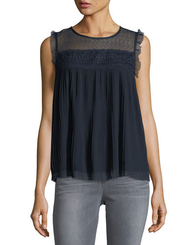 Lace-Yoke Pleated Top