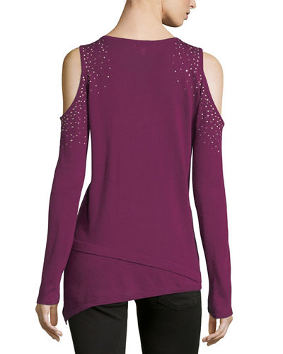 Long-Sleeve Cold-Shoulder Studded Tee