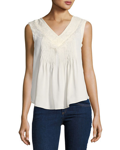 Pintucked Sleeveless Blouse With Lace Trim