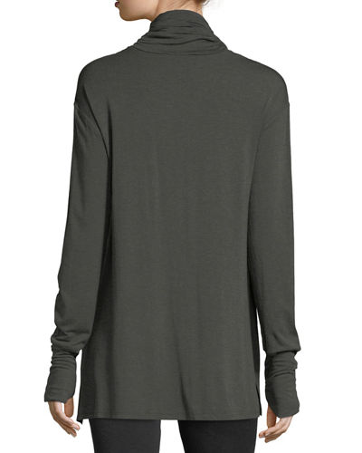 Long-Sleeve High-Low Jersey Tunic