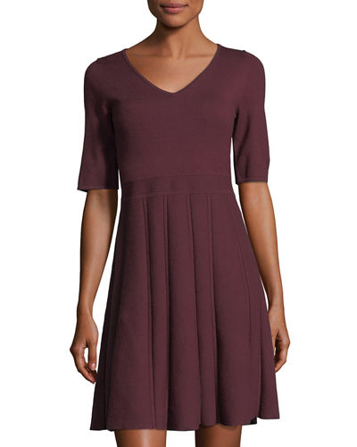 Jersey Half-Sleeve V-Neck Fit-and-Flare Dress