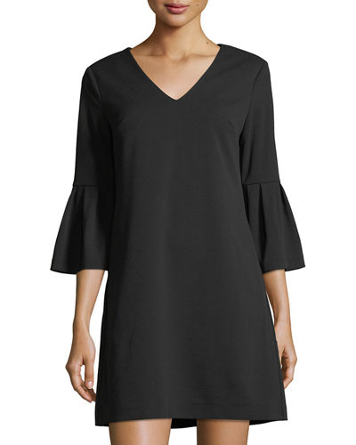 Bell-Sleeve V-Neck Shift Dress