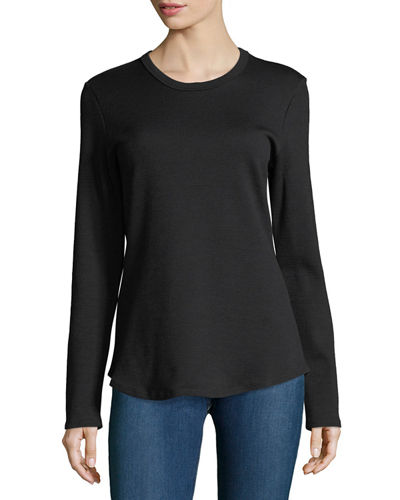 Textured-Knit Long-Sleeve Tee