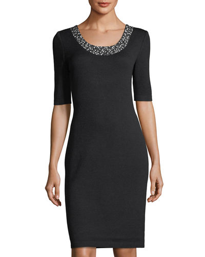 Studded-Collar Sheath Dress