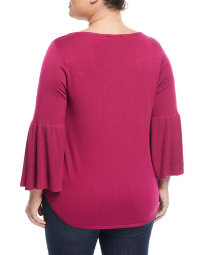 Pullover Bell-Sleeve Cutout Top, Plus Size