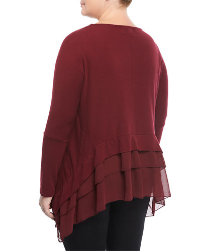 Long-Sleeve Sharkbite Tunic, Plus Size