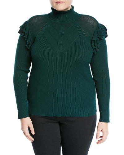 Ruffled Shoulder Turtleneck, Plus Size