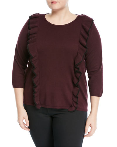 Tipped-Ruffle 3/4- Sleeve Sweater