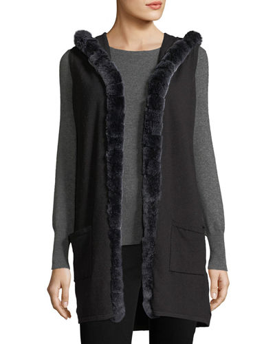 Hooded Knit Vest w/Fox-Fur Trim
