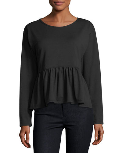 French Terry Ruffled Hi-Lo Peplum Top