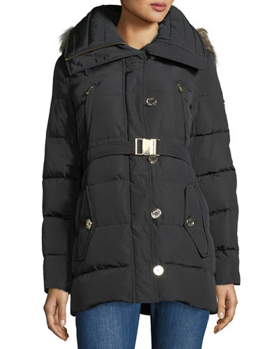 Heavy Down Car-Seat Belted Jacket w/ Fur Hood