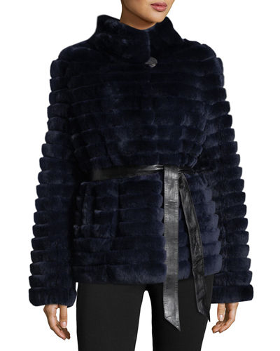 Reversible Down & Fur Belted Puffer Coat