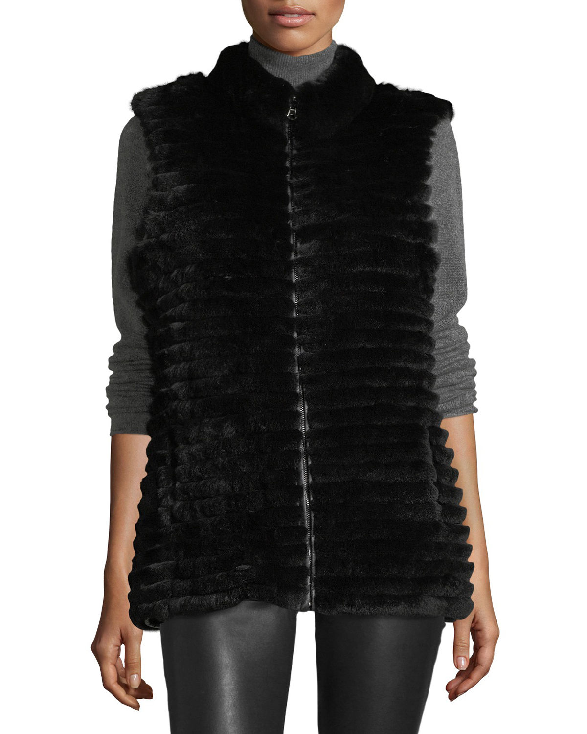 Quilted Rabbit Fur Reversible Down Vest
