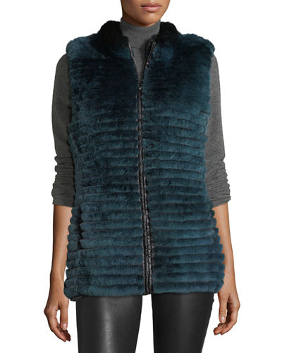 Gorski Quilted Rabbit Fur Reversible Down Vest