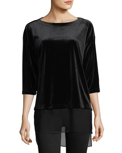 3/4-Sleeve Velvet Tunic