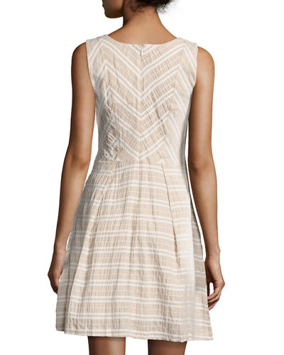 Boat-Neck Linen-Blend Striped Dress
