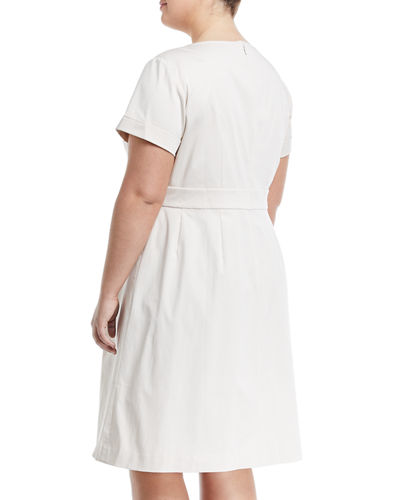 Joy Short-Sleeve Peplum Dress, Plus Size