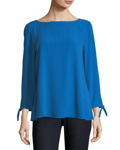 b0d21dc7cecd68 Eileen Fisher Silk Georgette Tie-Sleeve Top, Petite