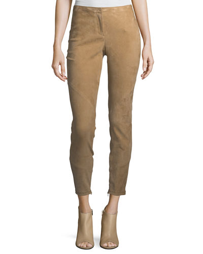 Slim Suede Ankle-Zip Pants