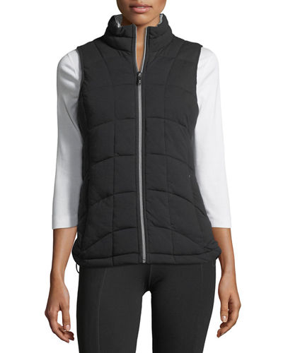 Front-Zip Knit Vest w/ Striped Lining