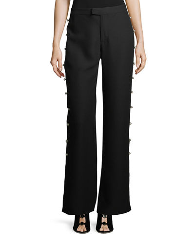 Wide-Leg Pearl-Trim Pants
