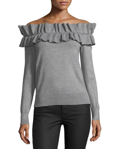 Ruffled Off-the-Shoulder Sweater