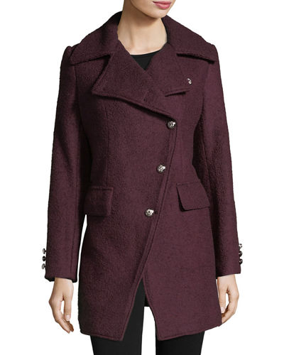 Asymmetric Wool Boucle Top Coat