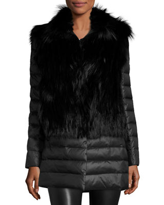 Fox Fur Stroller W/ Removable Down Skirt And Sleeves, Black