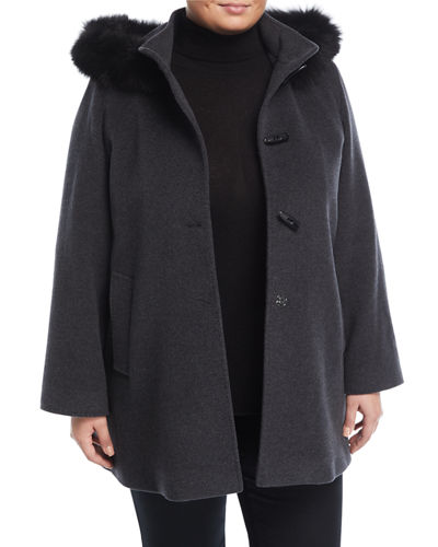 Toggle Coat with Detachable Fur-Trim Hood, Plus Size