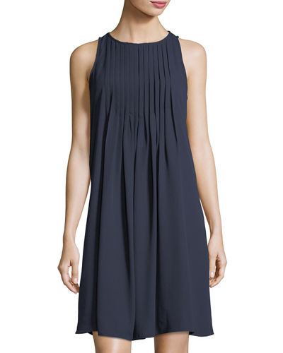 Pintuck-Neck Swingy A-Line Dress