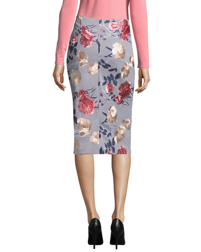 Floral-Embroidered Pencil Skirt