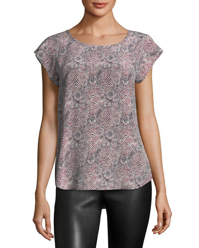 Rancher Cap-Sleeve Printed Top