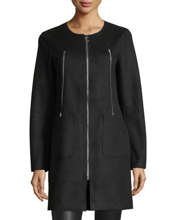 Neiman Marcus Zip-Detail Brushed-Ponte Car Coat