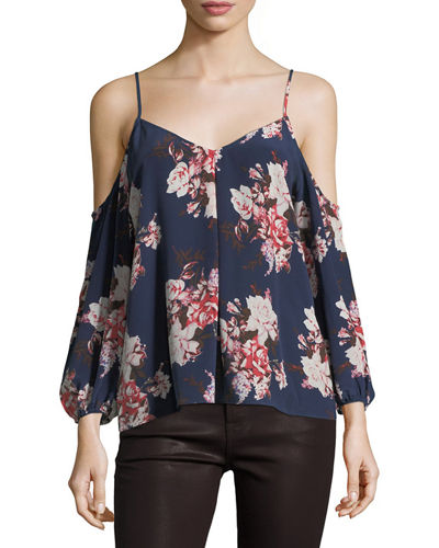 Eclipse Floral-Print Cold-Shoulder Flowy Blouse