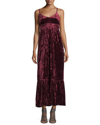SLEEVELESS VELVET MAXI DRESS