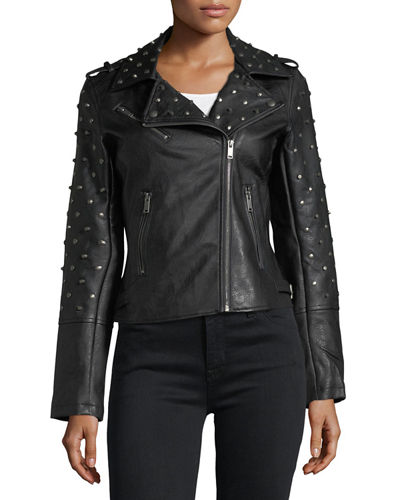 Studded Faux-Leather Jacket