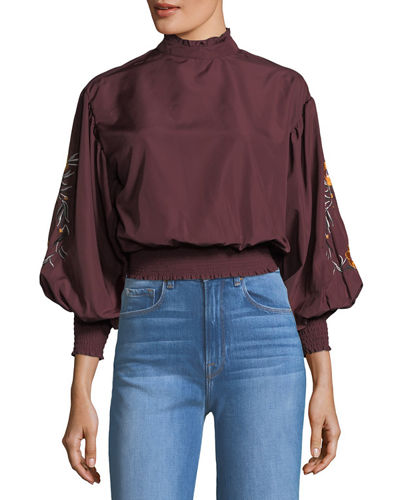 Embroidered-Sleeve Smocked Blouse