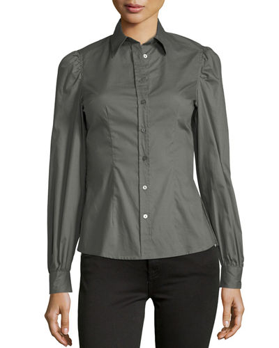 Woven Button-Front Long-Sleeve Top