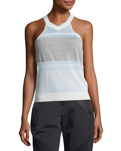 Blanc Noir Vue Mesh-Panel Sweater Tank