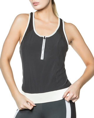 Relaxed Contrast-Trim Tank Blanc Noir
