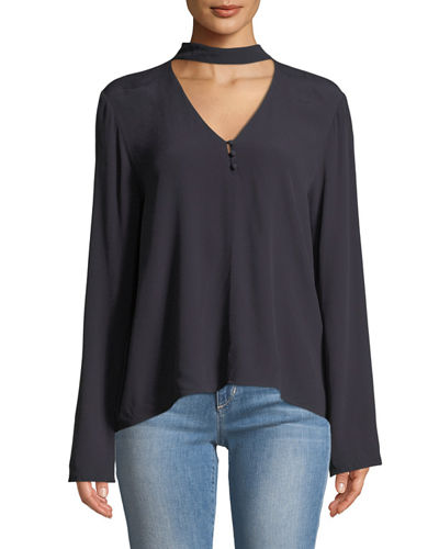 Raven Choker-Neck Blouse