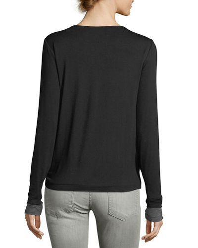 Side-Knotted Long-Sleeve Tee