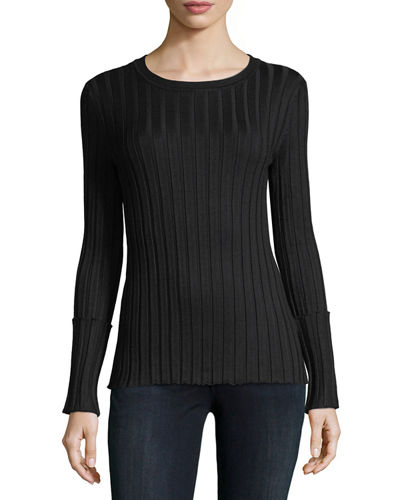 Ribbed Foldover-Cuff Sweater