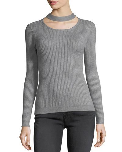 Ribbed Choker-Neck Sweater