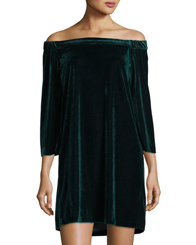 Off-The-Shoulder Velvet Dress